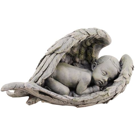 sleeping baby in wings garden figure the catholic company