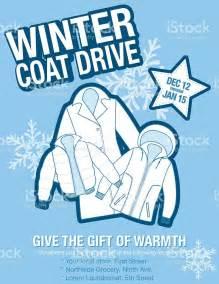 winter coat template winter coat drive charity poster template stock vector