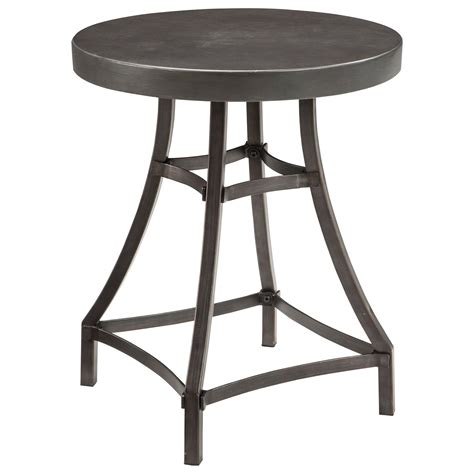 ashley accent tables signature design by ashley starmore t913 6 round end table with metal base cast cement top