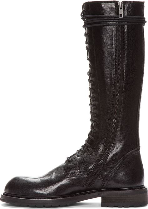 demeulemeester black leather lace up boots in