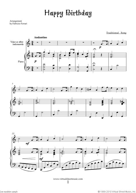printable sheet music happy birthday happy birthday free sheet music to download for piano