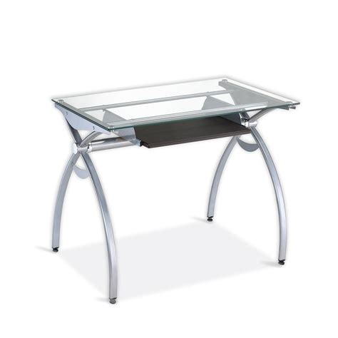 Contempo Clear Glass Top Computer Desk With Pull Out Pull Out Computer Desk