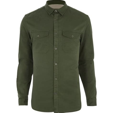 Blouse Giovany Navy M khaki green fit shirt gifts sale