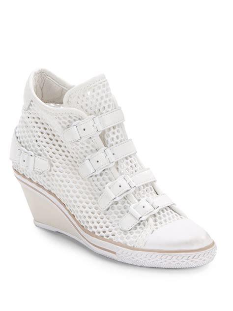 sneaker wedges white ash gossip mesh wedge sneakers in white lyst