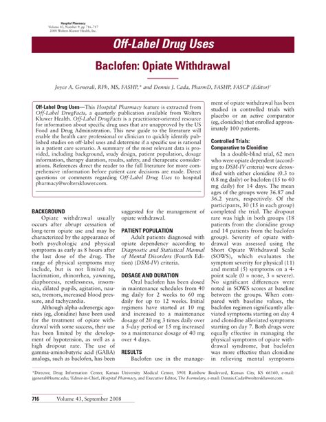 Greenwich Hospital Opiate Detox by Label Uses Baclofen Opiate Pdf