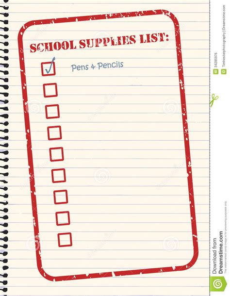 rubber st template free school supplies checklist vector royalty free stock image