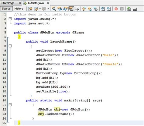 tutorial java button radio button in java using netbeans ide