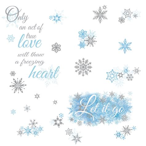 Frozen let it go quote wall decals snowflakes stickers disney phrase room decor ebay
