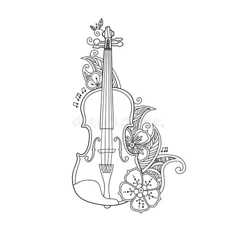 violin coloring page to print coloring page violin with flowers and leafs stock vector