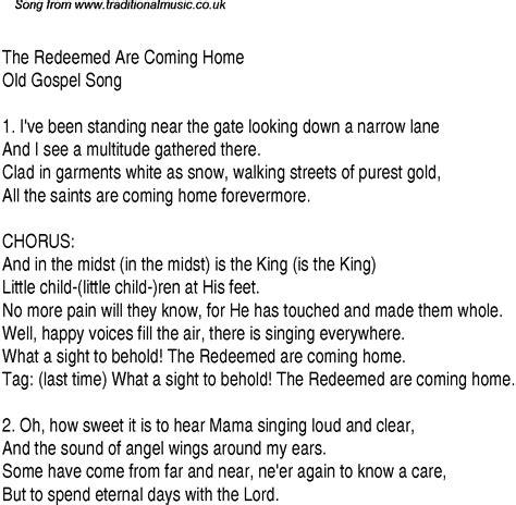 the redeemed are coming home christian gospel song