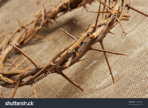a crown of thorns on canvas background stock photo