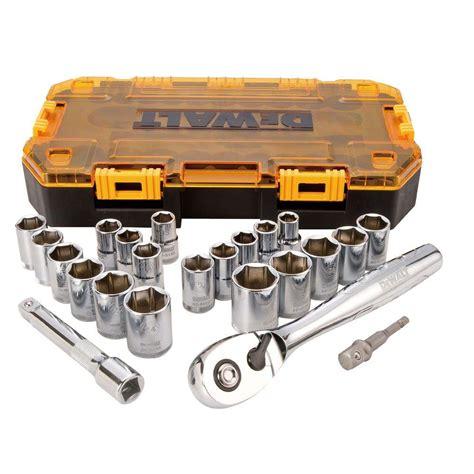 Socket Wrench Set 27 Pcs dewalt 1 2 in ratchet and socket set 23 dwmt73813 the home depot