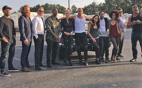 fast and furious 8 cast vin diesel shares photo of fast furious 8 cast gossip