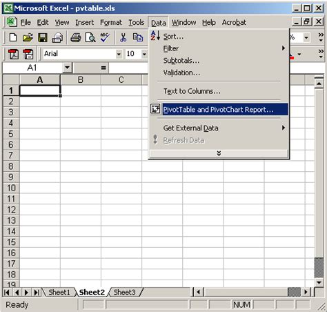 ms excel 2003 how to create a pivot table