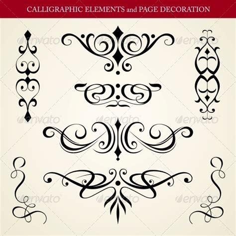 decorative symbols calligraphic elements and page decoration by hydognik