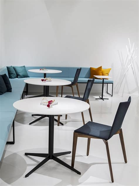 Davis Office Furniture by Modo Bench With Mez Tables And Rhombus Chairs Neocon