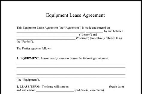 equipment lease agreement template rent and lease template free premium