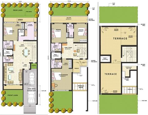 indian section narrow row house floor plans google search row house plan