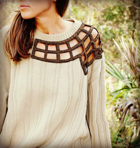 diy sweater trash to couture diy embellished sweater