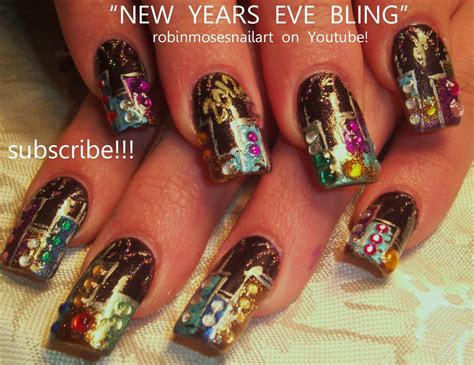new year simple nail new years bling nail glitter skyline with