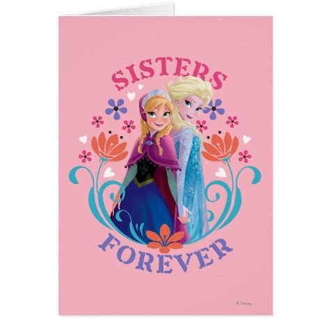 printable birthday cards elsa anna and elsa sisters forever greeting cards zazzle