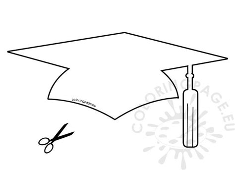 paper graduation hat template coloring page