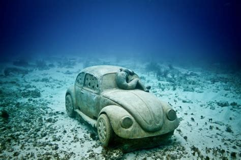 volkswagen thing in water underwater museum cancun mexico quintana roo