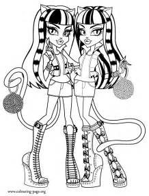 monster high purrsephone and meowlody coloring page