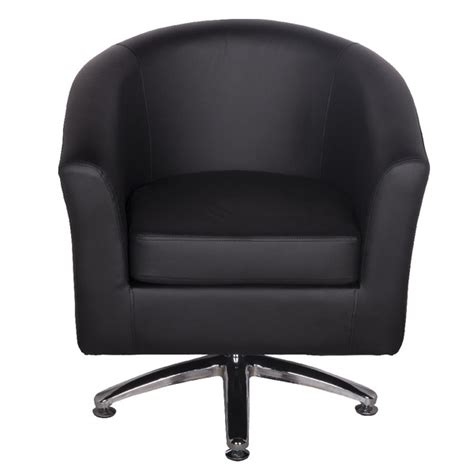 Black Swivel Armchair by Leather Tub Chairs Designer Leather Swivel Tub Chair