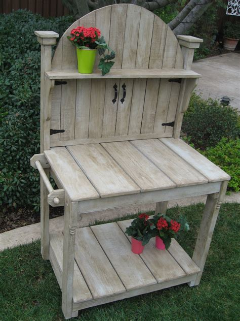 small potting bench small weathered potting bench with round gate top