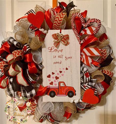 valentines day wreath love wreath valentines front door