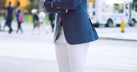 Ripped Channel Navy s navy blazer light blue dress shirt white ripped brown suede tassel loafers