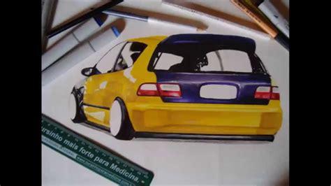 stanced cars drawing stanced honda civic eg draw desenho hondaftw rb