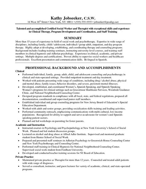 social work resume exles social work resume with