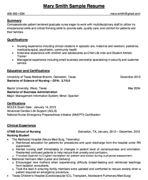 clinical nursing student with experienced resume sle resumes design