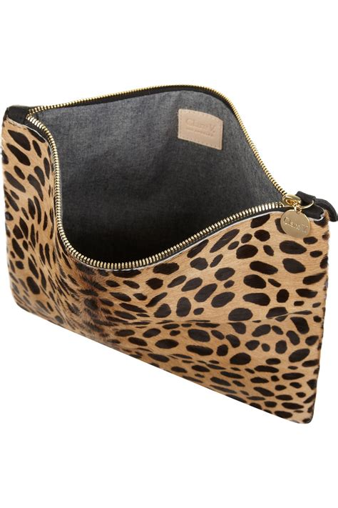 Up Of Designer Animal Print Clutch by Lyst Clare V Leopard Print Calf Hair Clutch