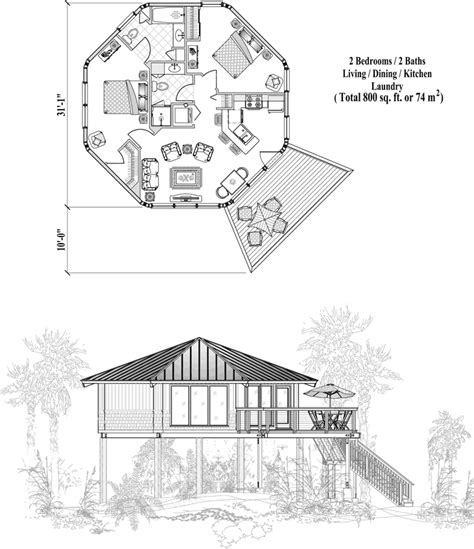Small Octagon House Plans by Octagon House Floor Plan 800 Sq Ft 2 Bedrooms 2 Baths