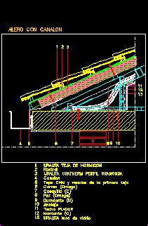 inclined roofs  concrete tiles dwg detail  autocad