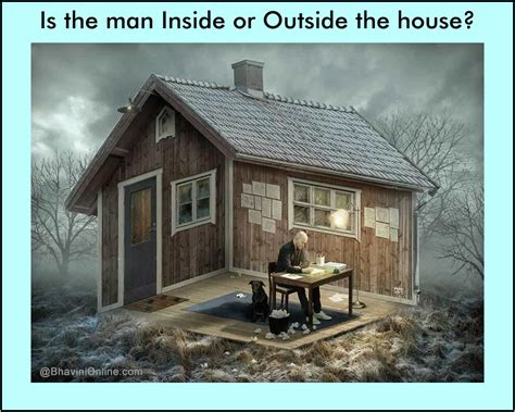 outside of the house optical illusion is the man inside or outside the house
