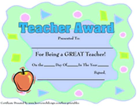 printable teachers appreciation week certificates awards