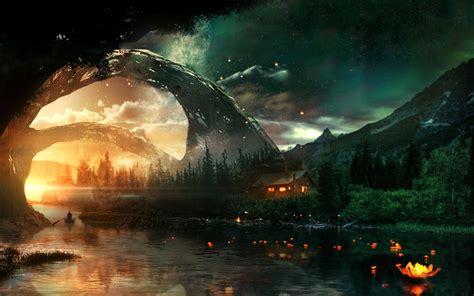 dark fantasy landscape windows  theme themepackme