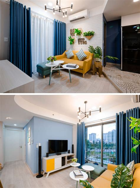bright blue house wall painting paired with yellow front door color between french windows plus pops of blue and yellow keep this apartment fun and bright