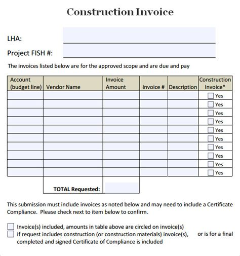 Construction Invoice Template 7 Free Download For Word Pdf Construction Template Free