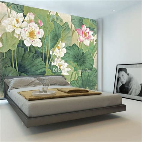 elegant lotus painting photo wallpaper 3d flowers