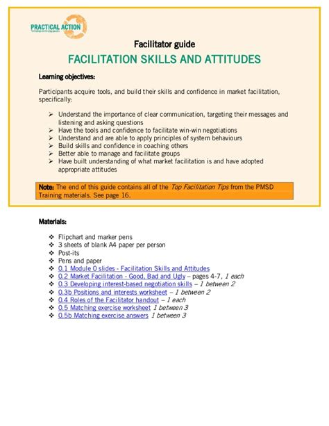facilitator guide template facilitation materials facilitator guide