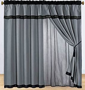 black and white sheer curtains com black and white embroidered curtain set w