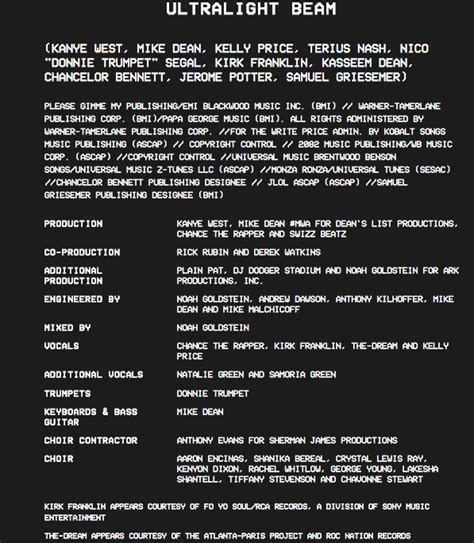 coloring book album credits kanye west has released quot the of pablo quot album credits