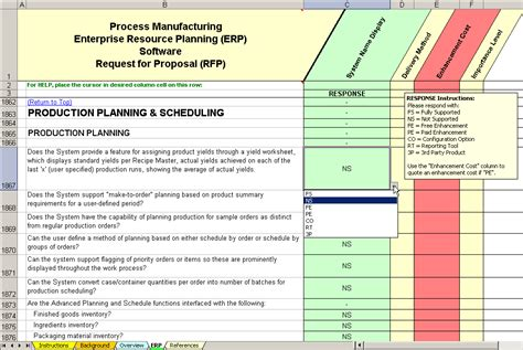 manufacturing process template erp software evaluation selection process manufacturing