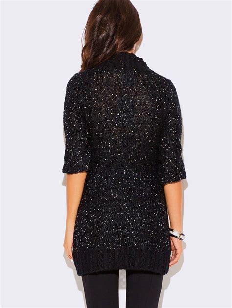 black sequined sweater dress modishonline
