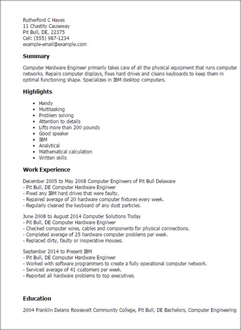 Computer Engineer Resume Doc by Professional Computer Hardware Engineer Templates To
